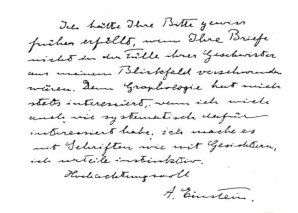 Handwriting sample: Albert Einstein