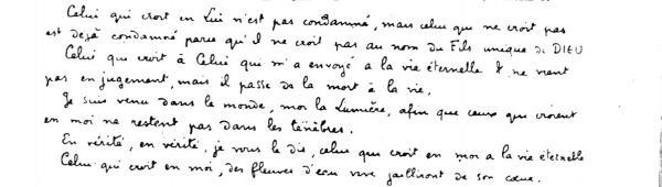 Handwriting sample: Charles de Foucauld