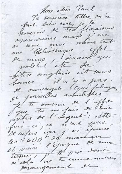 Handwriting sample: Camille Claudel