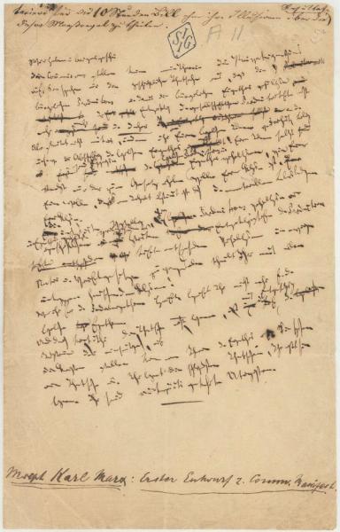 Handwriting sample: Karl Marx