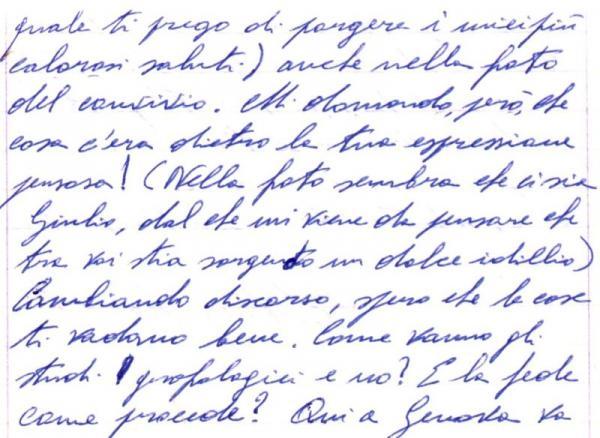Handwriting sample: abandonment affectivity in Forward Slant handwriting