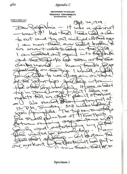 Handwriting sample: Alfred Kinsey