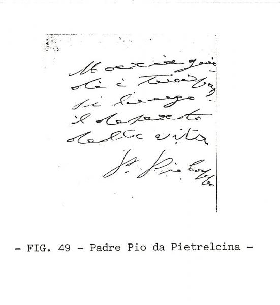 Handwriting sample: Padre Pio