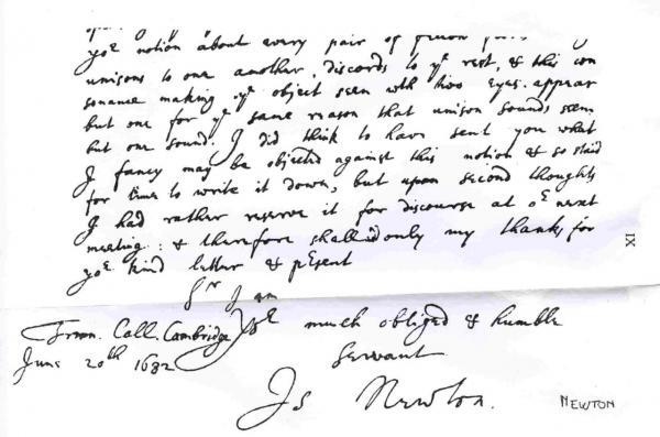 Handwriting: Isaac Newton
