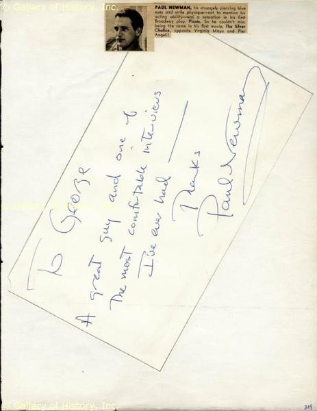 Handwriting: Paul Newman