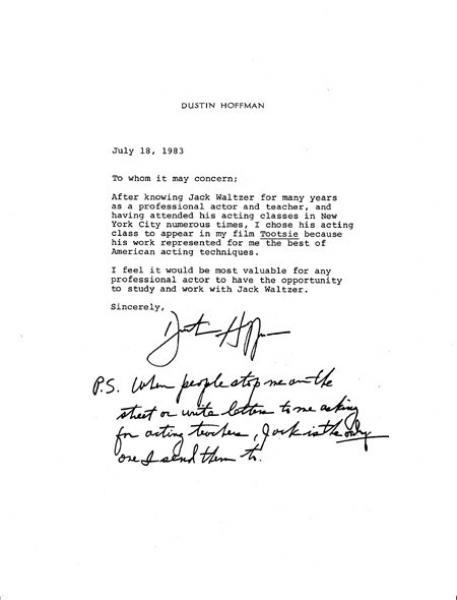 Handwriting: Dustin Hoffman