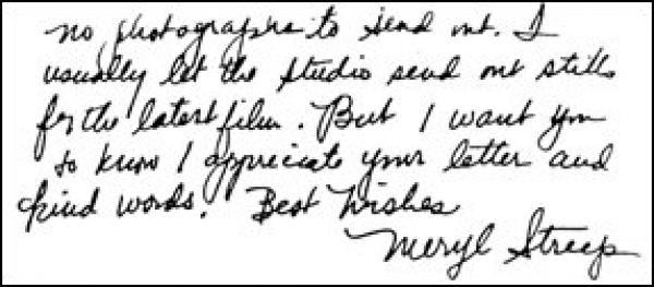 Handwriting: Meryl Streep